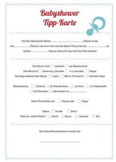 Tipps and Ideen für eine Babyparty, babyshower Tippkarte