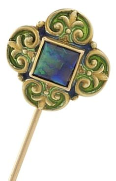 An Art Nouveau Enamel, Opal and Gold Stick Pin, circa 1900, by Marcus & Co.