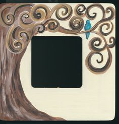 Family tree personalized hand painted picture frame wood brown neutral bluebird curly tree whimsical easle wall frame on Etsy, $18.00