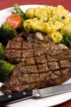 #steak #marinades #sauces In this picture, the porterhouse steak is served with hot pasta and broccoli, as well as some salad. This is just one serving idea and you c...