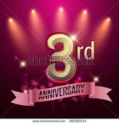 3rd Anniversary, Party poster, banner or invitation - background glowing element. Vector Illustration. - stock vector