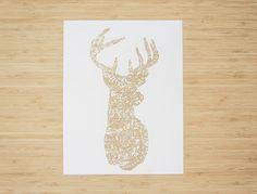 Laser-Cut Papercutting Artwork - Floral Deer by lightpaper on Etsy https://www.etsy.com/listing/230967585/laser-cut-papercutting-artwork-floral