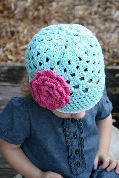 Open Weave Beanie Top View by Daisy Cottage Designs, via Flickr