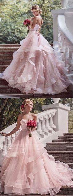 pink wedding dress, long wedding dress, 2017 wedding dress, strapless wedding dress, bridal gown