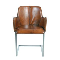 This Carlos arm chair features top grain leather upholstery finished in a delightful dark brown. Resting in polished metal hardware, the contemporary style of this chair is sure to impress.