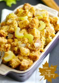 Easy Gluten Free Stuffing (Vegan)- Easy traditional stuffing that's also Vegan. PetiteAllergyTreats. #thanksgiving