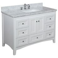 Abbey Bathroom Vanity (Carrara/White): Includes Italian Carrara Marble Top, Shaker Style Cabinet with Soft Close Drawers & Self Closing Doors, and Rectangular Ceramic Sink Kitchen Bath Collection Vanity Set, White Vanity Bathroom, Vanity Cabinet, Vanity Ideas, Vanity Units, Washroom Vanity, 60 Inch Vanity, French Bathroom, Vanity Tops
