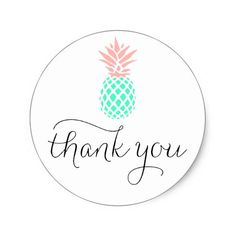 pink teal pineapple thank you classic round sticker