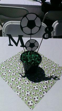Soccer Soccer Birthday Parties, Sports Birthday, Soccer Party, Sports Party, Birthday Party Themes, Soccer Centerpieces, Birthday Centerpieces, Table Centerpieces, Soccer Decor