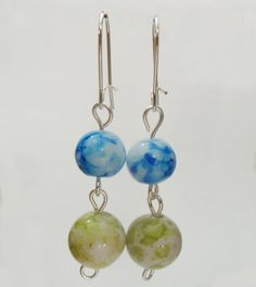 Lime Green Speckled and Blue Veined Round by TheRaspberryBasket