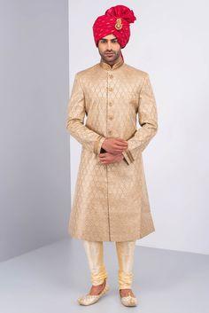 Gold colour yes for Appa Oshnaar Antique Gold Brocade Sherwani And Gold Kurta Chudidar Set Wedding Dresses Men Indian, Wedding Dress Men, Wedding Dress Patterns, Wedding Suits, Wedding Attire, Party Wedding, Indian Dresses, Sherwani Groom, Wedding Sherwani
