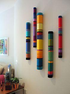 Myra Burg (pool noodles and paper mache Bamboo Art, Bamboo Crafts, Diy Wall Art, Diy Art, Diy Home Crafts, Diy Home Decor, Painted Sticks, Painted Wood, Wall Sculptures