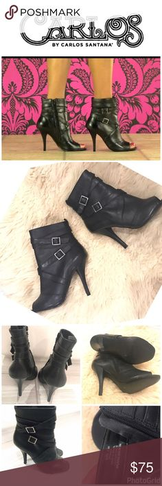 """Carlos Bota Black Leather Booties Ankle Boots Carlos Santana Bota Black Leather Booties Ankle Boots 6.5 medium 4"""" heel,  straps , buckle accents. Peep toe. Worn only a couple of times. Carlos Santana Shoes Ankle Boots & Booties"""