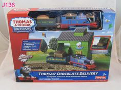 NEW THOMAS THE TANK ENGINE TRACKMASTER CHOCOLATE DELIVERY TRAIN FISHER PRICE !!!!  ON AUCTION THIS WEEK!!!!!