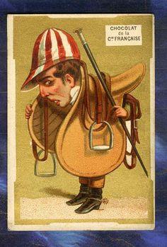 Chromo Cie Française caricature Jockey Hippisme Caricatura Appel old Trade Card   Collections, Objets publicitaires, Chromos, découpis   eBay!