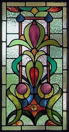 Victorian stained glass panel - AGlassMenagerie.net/victorian.html #Vitrales