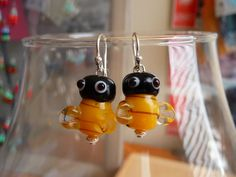 Oh BEE-have!    B E E HAPPY  Bee Earrings by Mandy Lemig  Glass by MandyLemig, $20.00