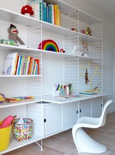 Modern And Minimal Wall Shelves For Kids' Rooms The String Shelf Wooden Material Shelves Metal Separator Table Bottom Books Rack White Wall Shelves For Kids Room Scandinavian Shelves, Scandinavian Design, Minimalist Scandinavian, Nordic Design, String Regal, String Shelf, Shelving Systems, Storage Shelving, Shelf System