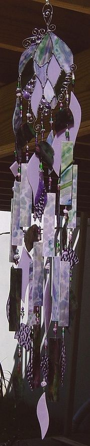 Purple glass wind chime
