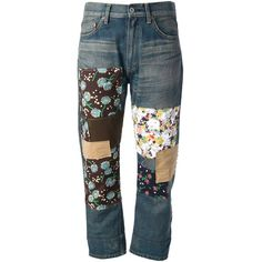 JUNYA WATANABE floral patch jeans (€430) ❤ liked on Polyvore featuring jeans, blue, flower print jeans, junya watanabe jeans, floral printed jeans, patched jeans and blue jeans