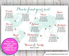 Wedding Seating Chart - FREE RUSH SERVICE 12 hours - World Map Plane Travel Theme Wedding Seating Chart, Reception Template HbC135 by HappyBlueCat on Etsy https://www.etsy.com/listing/223271315/wedding-seating-chart-free-rush-service
