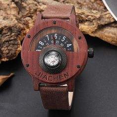 Creative Mens Walnut Wood Watch Male Wooden Leather Real Natural Rosewood Men Wrist Watch Men's Compass Turntable Wristwatch Outfit Accessories From Touchy Style. Watches For Men Unique, Wooden Watches For Men, Cool Watches, Top Luxury Brands, Wood Watch, Leather, Walnut Wood, Quartz Watch, Amigurumi