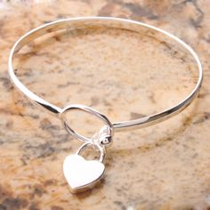 Elegant Peach Heart Bangle Bracelet. Starting at $5 on Tophatter.com!