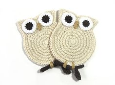 Owl Cream Crochet Coasters  for you Sarah Mills!!