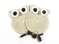 Owl Cream Crochet Coasters  for you Sarah Mills!!