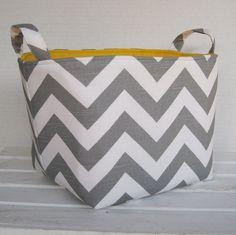 Fabric Organizer Bin Toy Storage Container Basket - Gray / White Chevron Fabric  - 8 x 8 x 8
