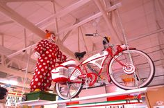 "Pee Wee Herman's bike plus clown from the movie, ""Pee Wee's Big Adventure"" on display at the Volo Auto Museum's food court.  Volo, IL. www.volocars.com"