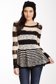 Pieces by Kensie Striped Flare Bottom Sweater Tunic on HauteLook