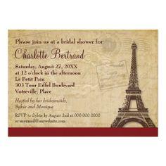 Eiffel Tower Parisian Bridal Shower Personalized Announcements