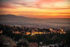 #Granada #Alhambra #Views Granada, River, Celestial, Sunset, Outdoor, Romantic Travel, Cities, Viajes, Outdoors