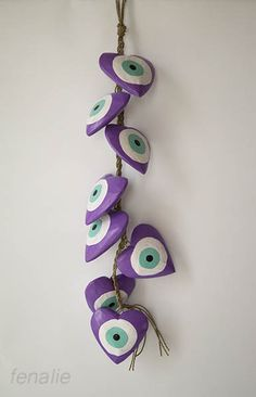 Garland of 8 wooden handmade hearts mati-evil eye,heart diameter 8cm, length of garland 50cm