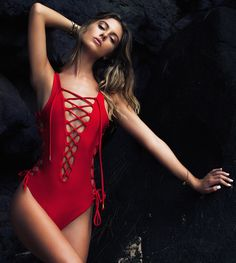 Red Jamaica swimsuit with ties (Lurelly)