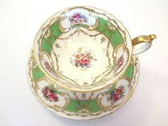 Vintage Cup & Saucer Royal Crown Derby Green Gold by NostalgicFair