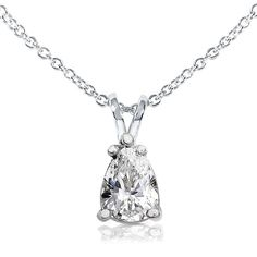 Annello by Kobelli 14k Gold 1ct Pear-shape Moissanite Solitaire 16-inch Necklace