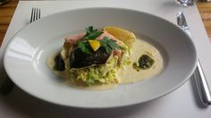 Grilled char filet from Bern with herbs on mashed potatoes @ Restaurant Hardhof