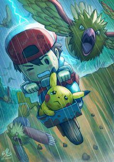 PikaBeginnings. Ash/Satoshi, Pikachu, Spearow (by Ry-Spirit, deviantART)