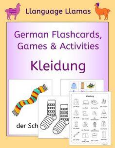 German Clothing - Kleidung. This pack contains 103 pages of resources to teach 16 German words for clothes, great for teaching elementary students. This German clothing vocabulary set includes: die Mtze, der Schal, die Schuhe, die Socken, die Handschuhe, das Hemd, die Blusa, das T-shirt, die Jacke, die Hose, der Pullover, die kurze Hose, der Rock, das Kleid, die Stiefel,  der Schlafanzug.The German clothes pack comprises:1.
