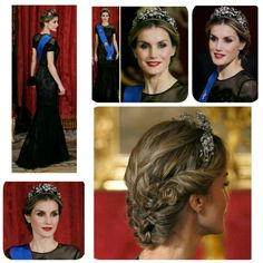 Thursday, October 30, 2014  Dinner in honour of President of Chile , Madrid  King Felipe (not on the photos) and Queen Letizia hosted a dinner at the Royal Palace in honour of President of Chile  Fashion Queen Letizia   Queen Letizia wore a tiara. She chose the Mellerio Floral Tiara.  Queen Letizia is wearing  a Carolina Herrera dress.  #QueenLetizia #dinner #RoyalPalace #Madrid #PresidentofChile  #fashion #ReinaLetizia #Dress by #CarolinaHerrera #Tiara #MellerioFloralTiara