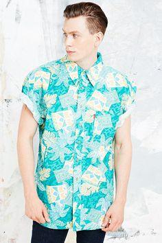 Urban Renewal Vintage Surplus Hawaiian Shirt in Aqua