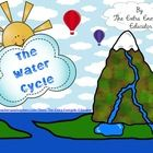 Water Cycle activities include flip book, KWL chart, vocabulary posters, directions for water cycle bracelet, writing activities
