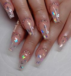 If you are looking for nail designs Then don't miss our gallery of long coffin nail designs. This charming long ballet nail is a favorite Clear Acrylic Nails, Simple Acrylic Nails, Clear Glitter Nails, Summer Acrylic Nails, Clear Nail Designs, Cute Acrylic Nail Designs, Nail Swag, Transparent Nails, Fire Nails