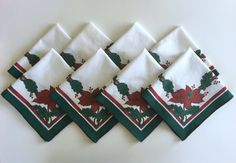 Christmas Napkins, Vintage Holiday Linens, Poinsettia, Red, Green, White, Gold, 8 Table Napkins, 100% Cotton by BarnabyGlenVintage on Etsy