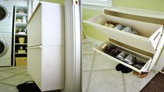 lifehacker: Repurpose an Ikea Recycling Bin to Make a Wall-Mounted Shoe Organizer Vanity Table Organization, Diy Organization, Organizing Ideas, Wall Mounted Shoe Storage, Shoe Storage Solutions, Dressing Room Closet, Recycling Bins, Recycling Center, Old Dressers