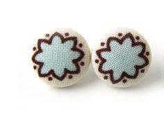 SALE Light blue fabric earrings  tiny button by KooKooCraft