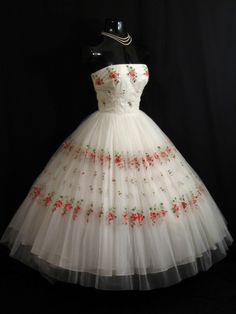 Vintage Embroidered Tulle
