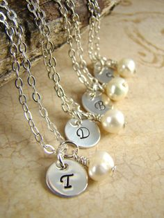 5 Personalized Initial Necklaces, Sterling Silver, Freshwater Pearls, wht a special gift. Bridesmaid Flowers, Bridesmaid Jewelry, Bridesmaid Gifts, Dream Wedding, Wedding Day, Wedding Stuff, Initial Necklaces, January Wedding, Wedding Gifts